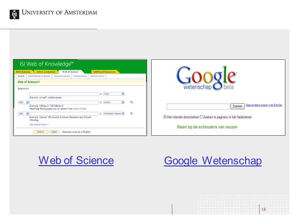16 Web of Science Google Wetenschap