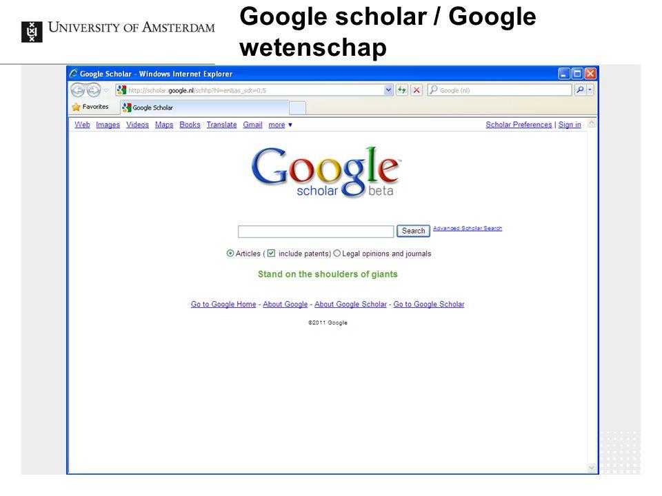 Google scholar / Google wetenschap 18