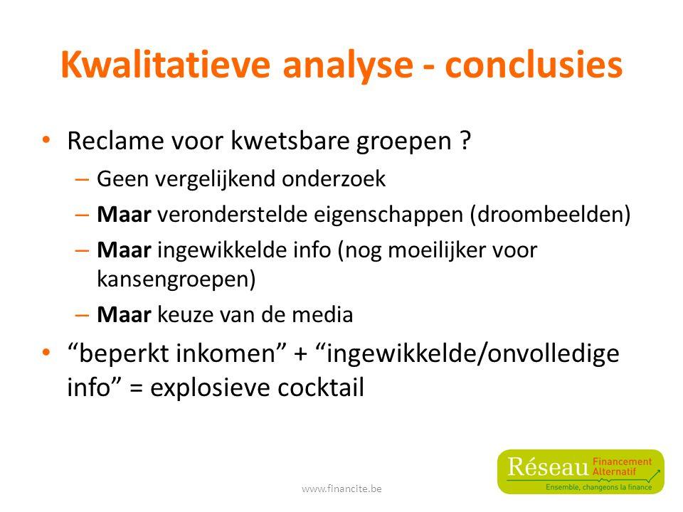 Kwalitatieve analyse - conclusies Reclame voor kwetsbare groepen .