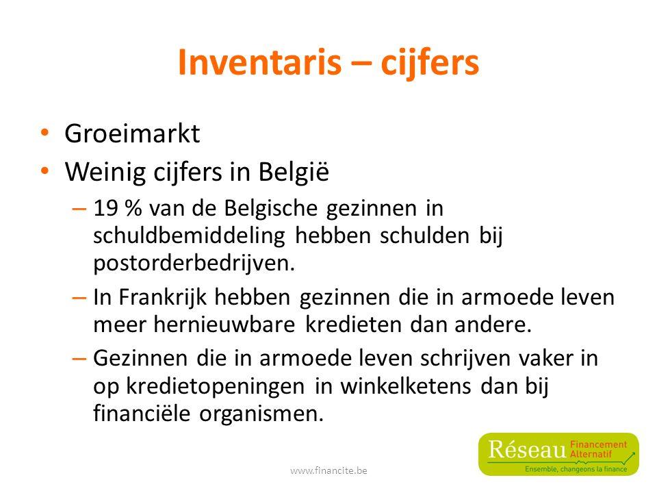 Inventaris – cijfers Groeimarkt Weinig cijfers in België – 19 % van de Belgische gezinnen in schuldbemiddeling hebben schulden bij postorderbedrijven.