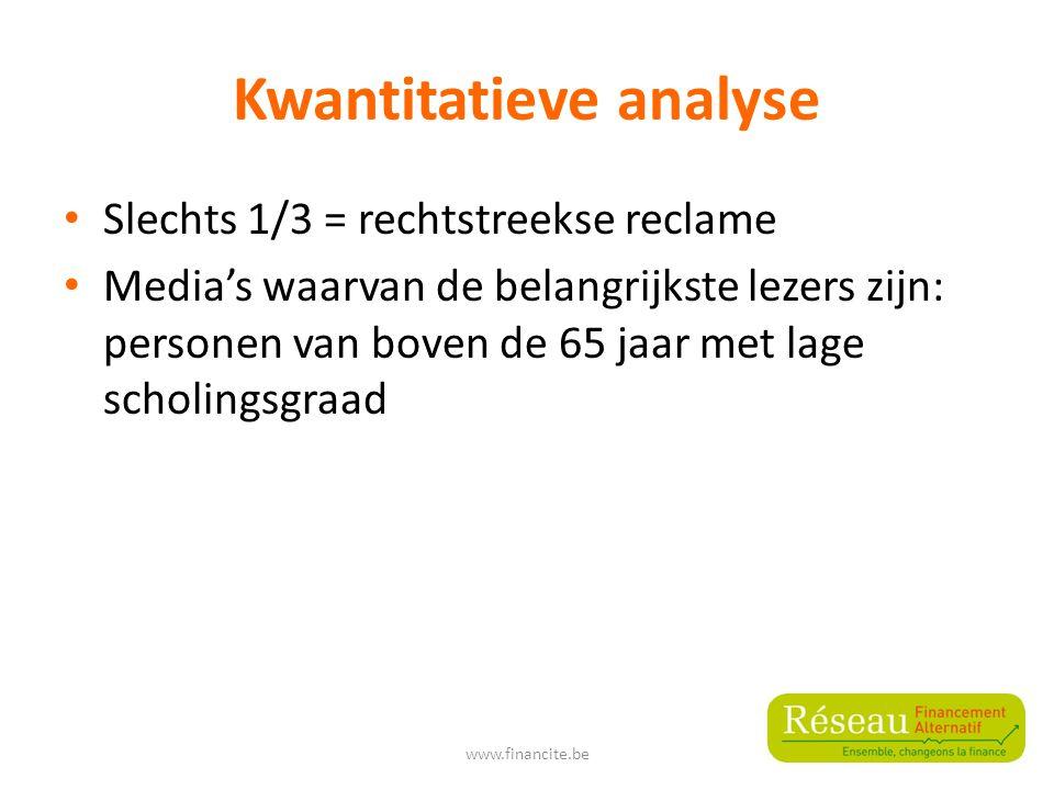 Kwantitatieve analyse Slechts 1/3 = rechtstreekse reclame Media's waarvan de belangrijkste lezers zijn: personen van boven de 65 jaar met lage scholingsgraad www.financite.be