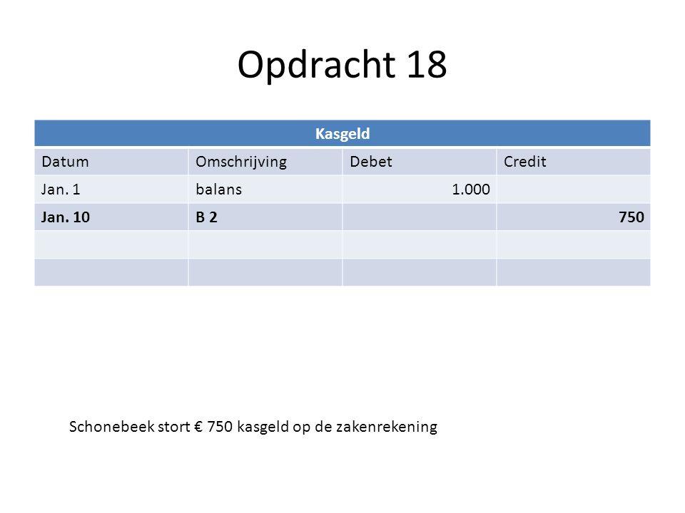 Opdracht 18 Schonebeek stort € 750 kasgeld op de zakenrekening Kasgeld DatumOmschrijvingDebetCredit Jan. 1balans1.000 Jan. 10B 2750