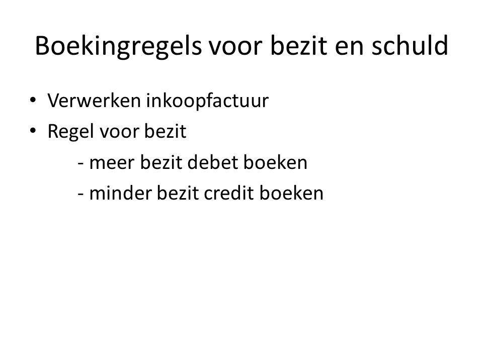 Boekingsregels voor bezit en schuld Maak opdr 18, 19, 20 & 21