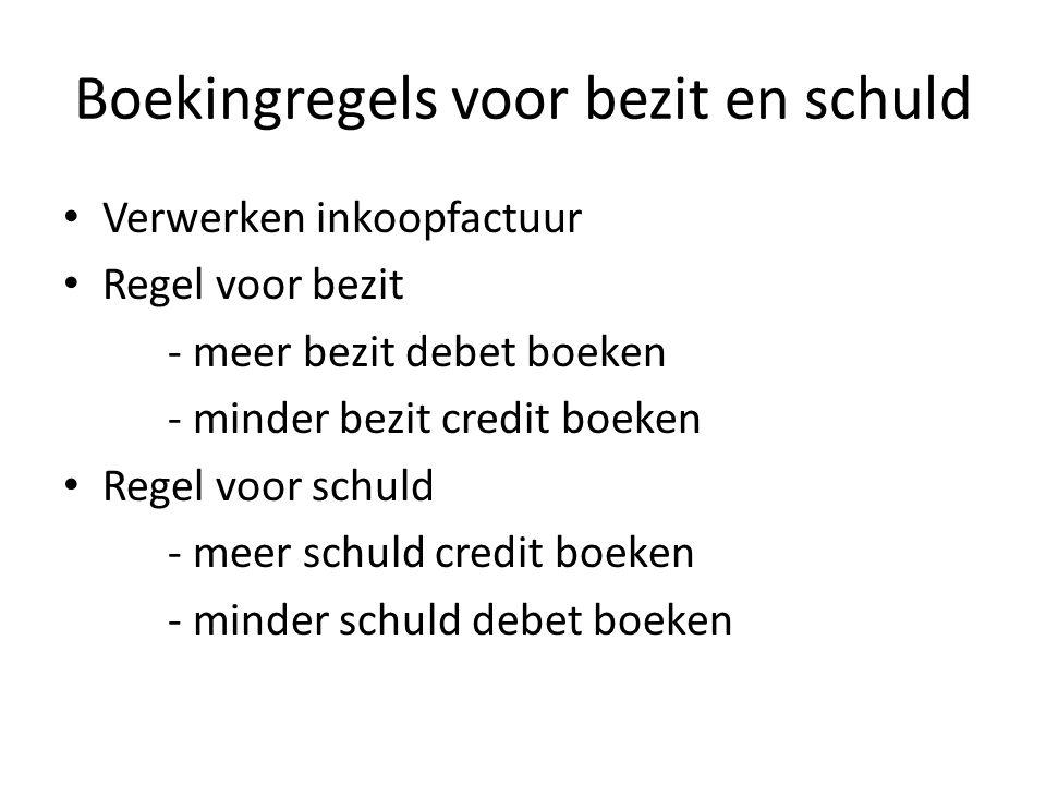 Opdracht 18 Boekingsstuk: B 2 Grootboekrek.DebetCredit Schonebeek stort € 750 kasgeld op de zakenrekening