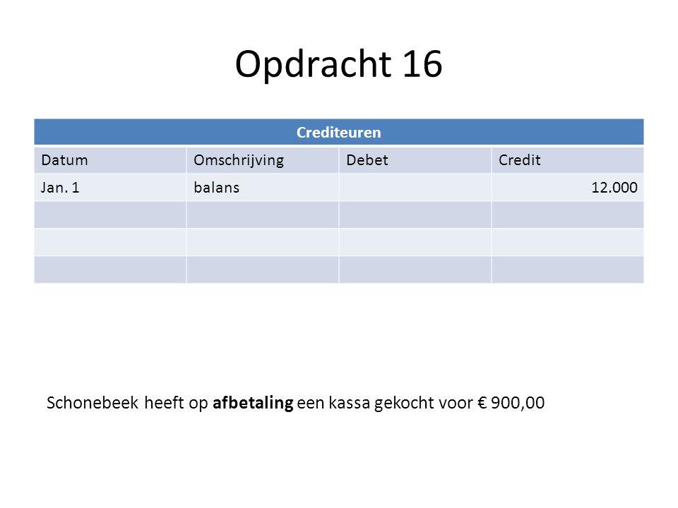 Opdracht 16 Crediteuren DatumOmschrijvingDebetCredit Jan. 1balans12.000 Schonebeek heeft op afbetaling een kassa gekocht voor € 900,00