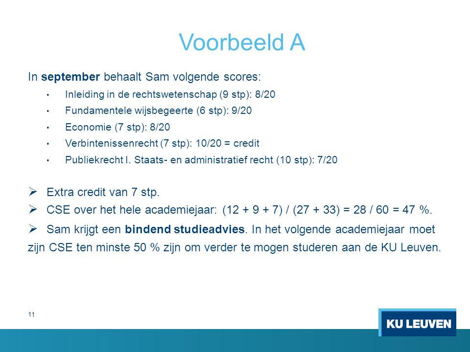 11 Voorbeeld A In september behaalt Sam volgende scores: Inleiding in de rechtswetenschap (9 stp): 8/20 Fundamentele wijsbegeerte (6 stp): 9/20 Econom