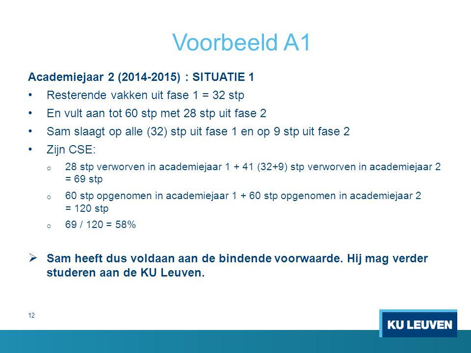 12 Voorbeeld A1 Academiejaar 2 (2014-2015) : SITUATIE 1 Resterende vakken uit fase 1 = 32 stp En vult aan tot 60 stp met 28 stp uit fase 2 Sam slaagt