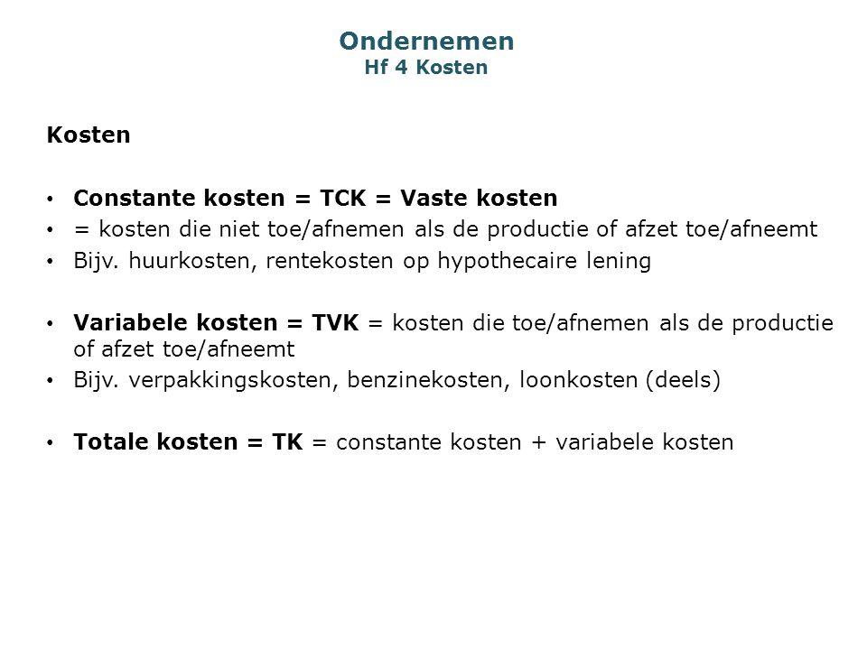 Ondernemen Hf 4 Kosten Kosten Constante kosten = TCK = Vaste kosten = kosten die niet toe/afnemen als de productie of afzet toe/afneemt Bijv. huurkost