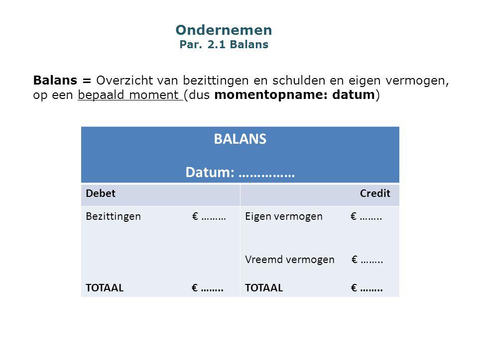 Ondernemen Par. 2.1 Balans Balans = Overzicht van bezittingen en schulden en eigen vermogen, op een bepaald moment (dus momentopname: datum) BALANS Da