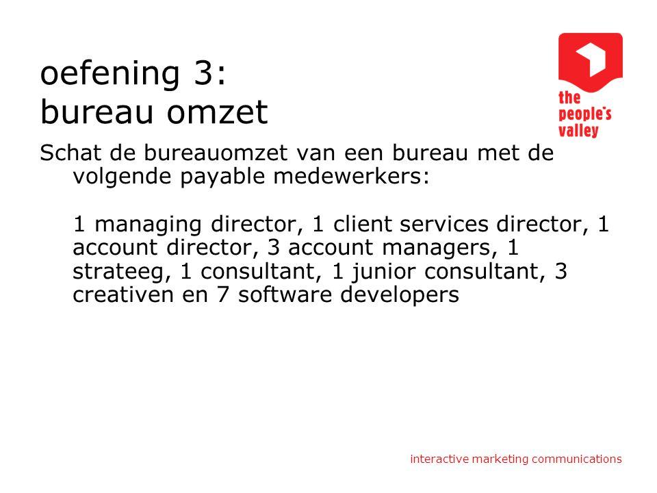 oefening 3: bureau omzet Schat de bureauomzet van een bureau met de volgende payable medewerkers: 1 managing director, 1 client services director, 1 a