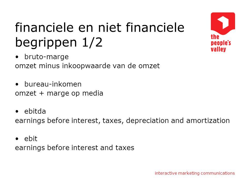 interactive marketing communications financiele en niet financiele begrippen 1/2 bruto-marge omzet minus inkoopwaarde van de omzet bureau-inkomen omze