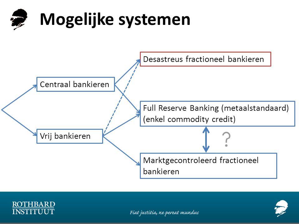 Mogelijke systemen Centraal bankieren Vrij bankieren Full Reserve Banking (metaalstandaard) (enkel commodity credit) Marktgecontroleerd fractioneel bankieren Desastreus fractioneel bankieren