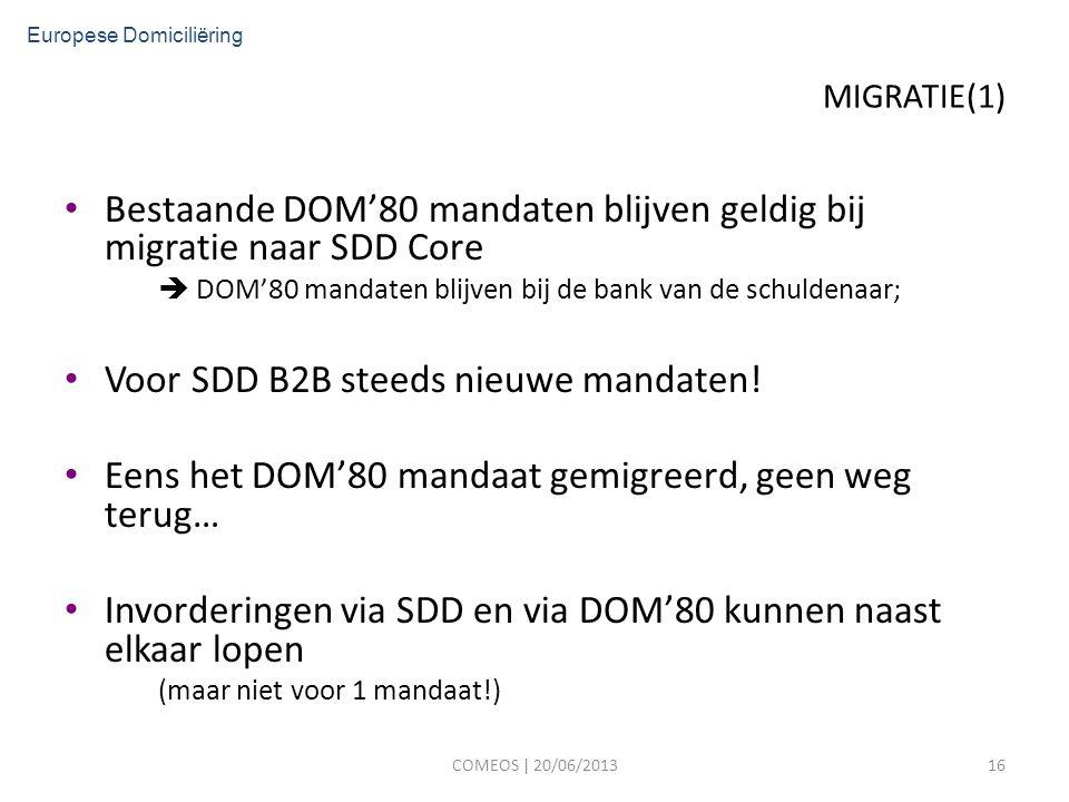 MIGRATIE(1) Bestaande DOM'80 mandaten blijven geldig bij migratie naar SDD Core  DOM'80 mandaten blijven bij de bank van de schuldenaar; Voor SDD B2B steeds nieuwe mandaten.
