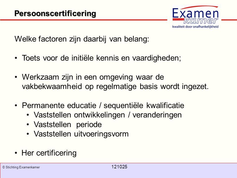 November 2008 100326 - evc11 100326 - evc11 Persoonscertificering © Stichting Examenkamer 121025 Welke factoren zijn daarbij van belang: Toets voor de