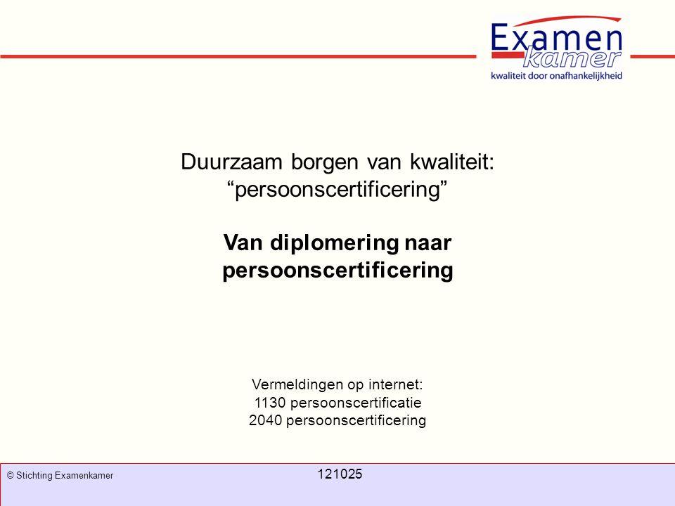 """November 2008 100326 - evc7 77 Duurzaam borgen van kwaliteit: """"persoonscertificering"""" Van diplomering naar persoonscertificering Vermeldingen op inter"""