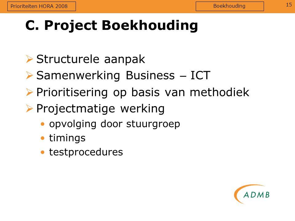 15  Structurele aanpak  Samenwerking Business – ICT  Prioritisering op basis van methodiek  Projectmatige werking opvolging door stuurgroep timings testprocedures C.