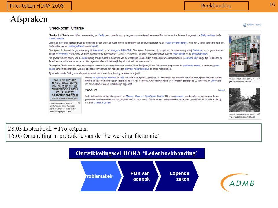 16 28.03 Lastenboek + Projectplan. 16.05 Ontsluiting in produktie van de 'herwerking facturatie'. Afspraken Ontwikkelingscel HORA 'Ledenboekhouding' P