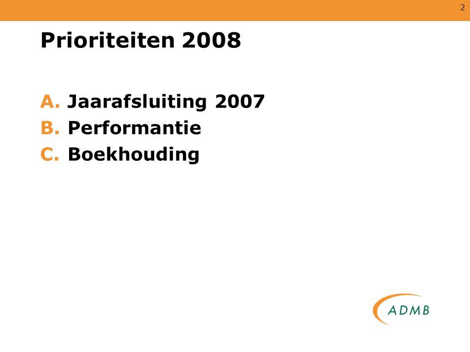 2 Prioriteiten 2008 A.Jaarafsluiting 2007 B.Performantie C.Boekhouding