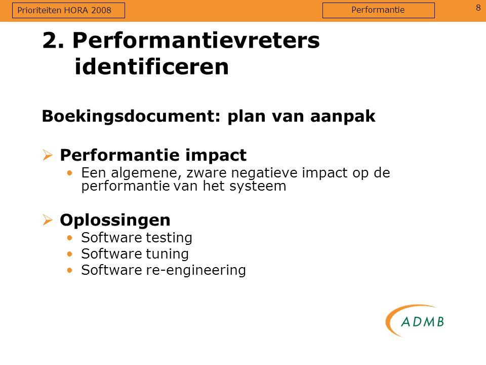 8 2. Performantievreters identificeren Boekingsdocument: plan van aanpak  Performantie impact Een algemene, zware negatieve impact op de performantie