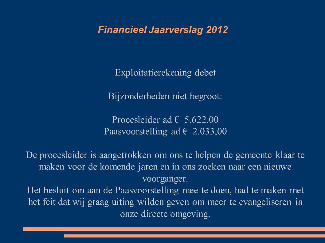 Financieel Jaarverslag 2012 ● Exploitatierekening credit ● Giften < € 16.942,00 t.o.v.