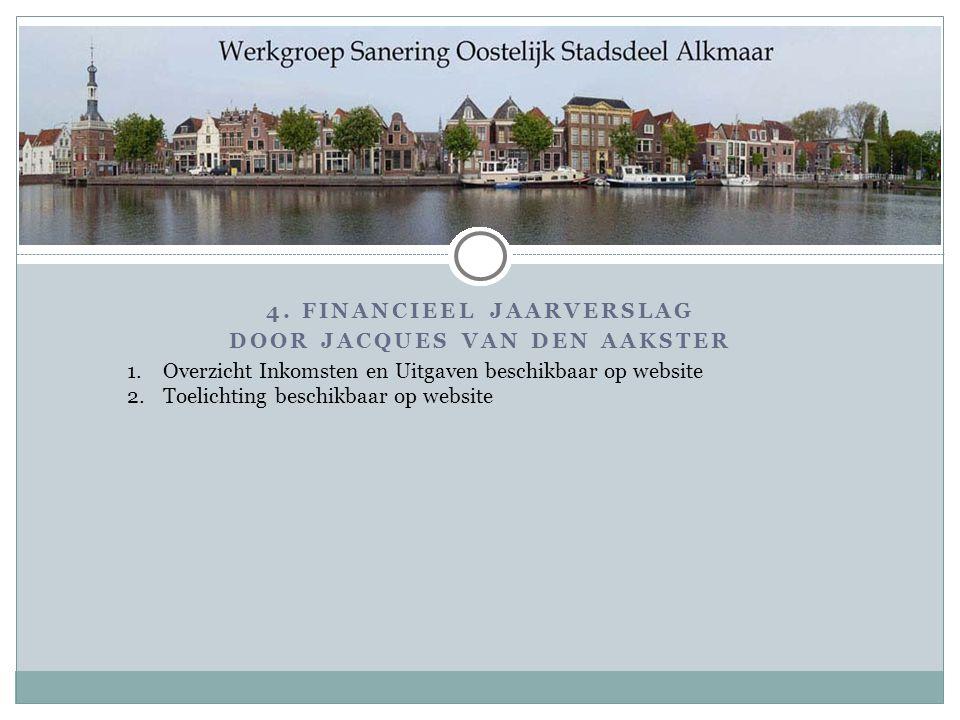 4. FINANCIEEL JAARVERSLAG DOOR JACQUES VAN DEN AAKSTER 1.Overzicht Inkomsten en Uitgaven beschikbaar op website 2.Toelichting beschikbaar op website