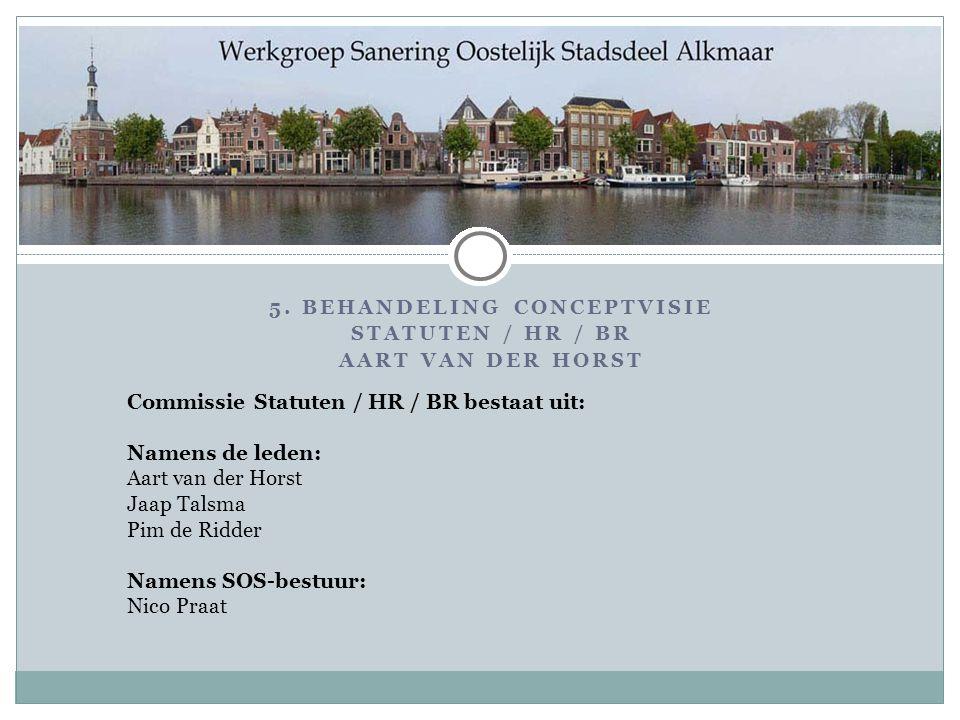 Commissie Statuten / HR / BR bestaat uit: Namens de leden: Aart van der Horst Jaap Talsma Pim de Ridder Namens SOS-bestuur: Nico Praat 5.
