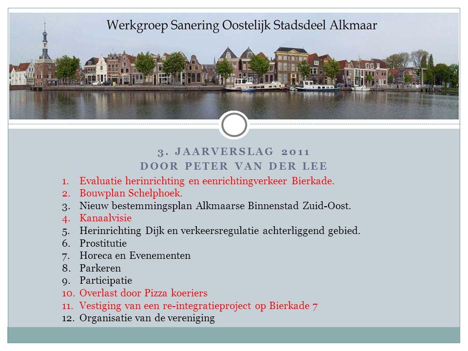 3. JAARVERSLAG 2011 DOOR PETER VAN DER LEE 1.Evaluatie herinrichting en eenrichtingverkeer Bierkade. 2.Bouwplan Schelphoek. 3.Nieuw bestemmingsplan Al