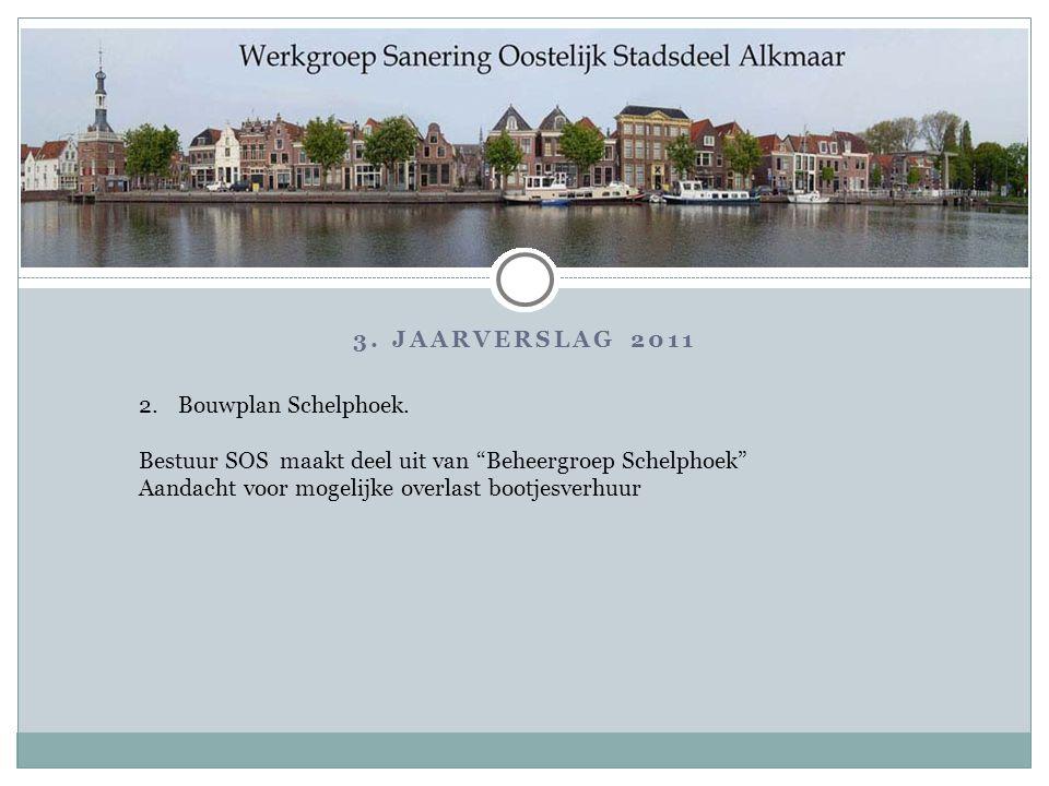 """3. JAARVERSLAG 2011 2.Bouwplan Schelphoek. Bestuur SOS maakt deel uit van """"Beheergroep Schelphoek"""" Aandacht voor mogelijke overlast bootjesverhuur"""