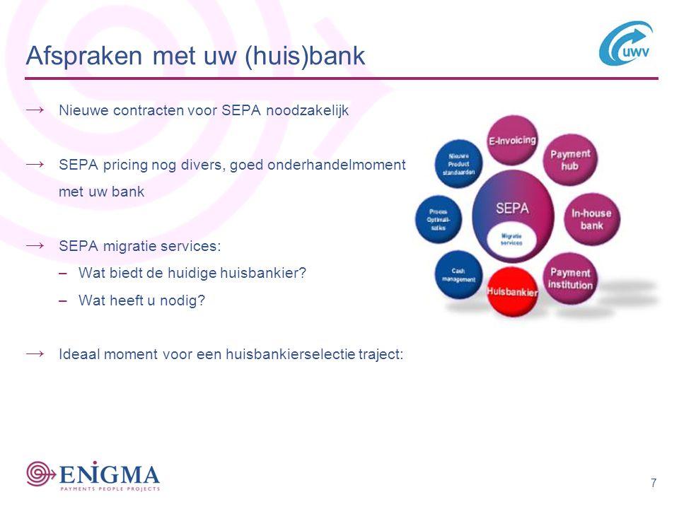 Afspraken met uw (huis)bank → Nieuwe contracten voor SEPA noodzakelijk → SEPA pricing nog divers, goed onderhandelmoment met uw bank → SEPA migratie services: –Wat biedt de huidige huisbankier.