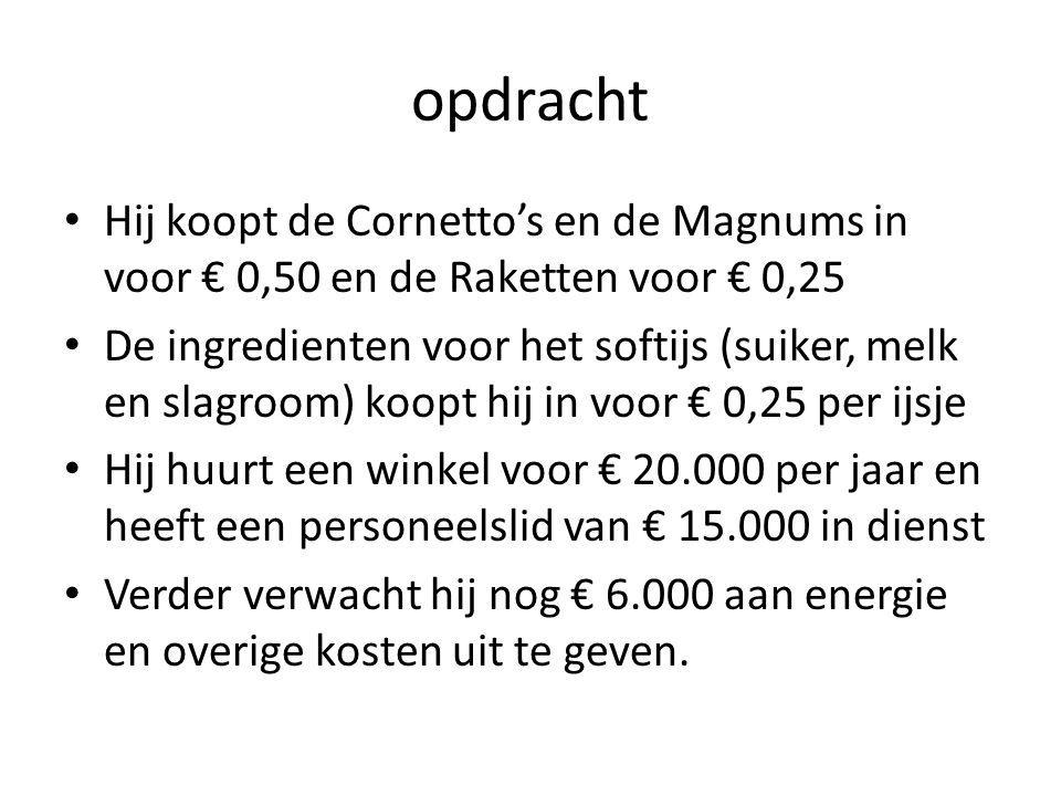 opdracht Hij koopt de Cornetto's en de Magnums in voor € 0,50 en de Raketten voor € 0,25 De ingredienten voor het softijs (suiker, melk en slagroom) k