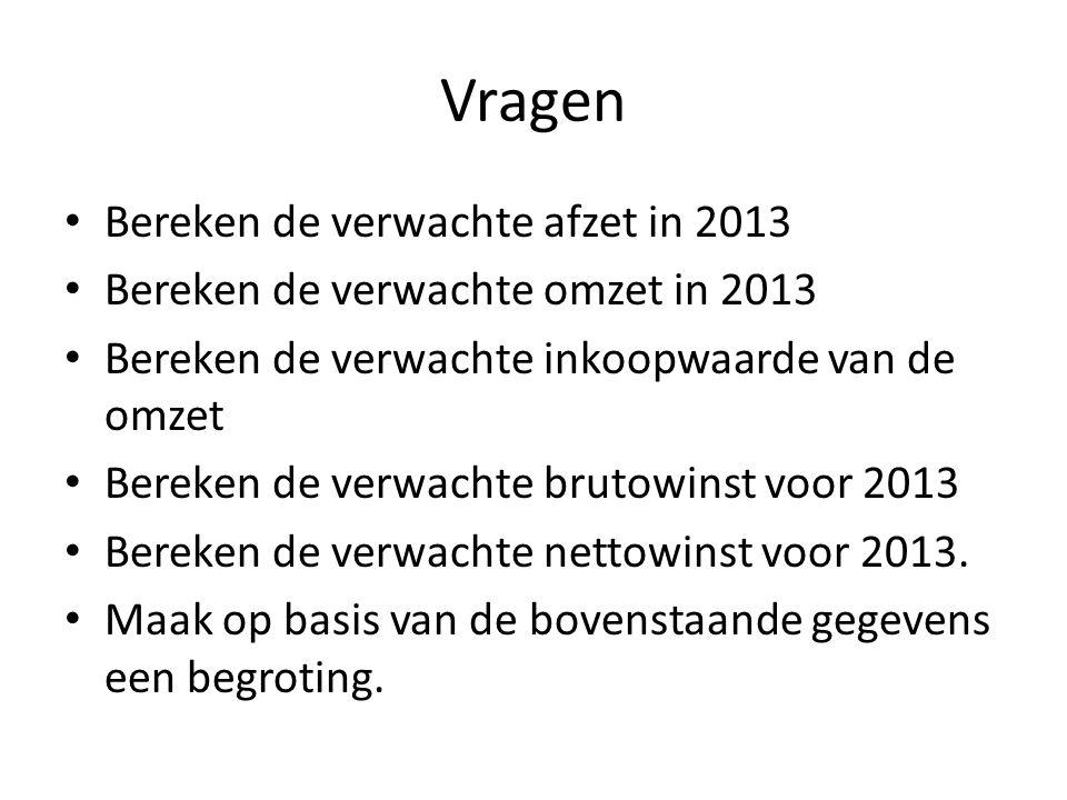 Vragen Bereken de verwachte afzet in 2013 Bereken de verwachte omzet in 2013 Bereken de verwachte inkoopwaarde van de omzet Bereken de verwachte bruto