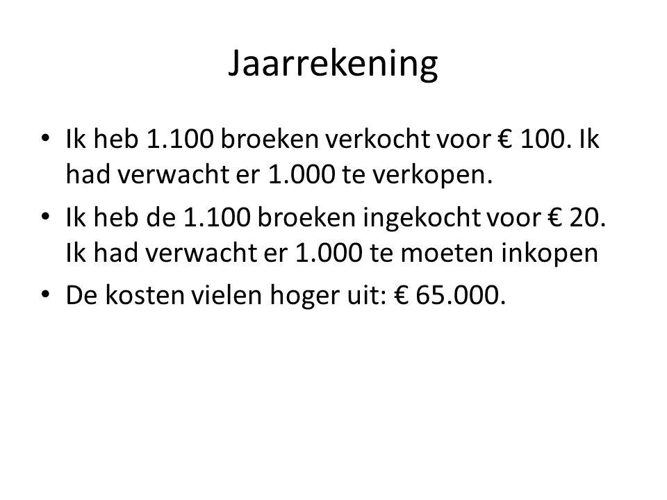 Jaarrekening Ik heb 1.100 broeken verkocht voor € 100. Ik had verwacht er 1.000 te verkopen. Ik heb de 1.100 broeken ingekocht voor € 20. Ik had verwa