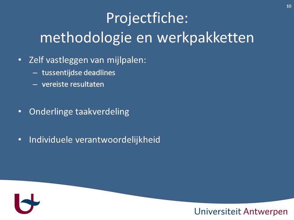 Projectfiche: methodologie en werkpakketten Zelf vastleggen van mijlpalen: – tussentijdse deadlines – vereiste resultaten Onderlinge taakverdeling Ind