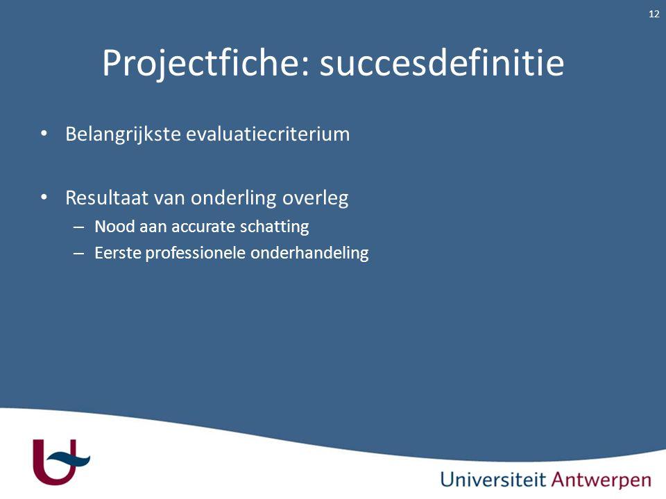 Projectfiche: succesdefinitie Belangrijkste evaluatiecriterium Resultaat van onderling overleg – Nood aan accurate schatting – Eerste professionele on