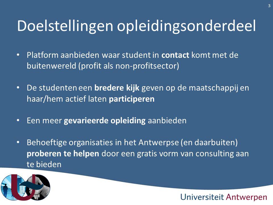Doelstellingen opleidingsonderdeel Platform aanbieden waar student in contact komt met de buitenwereld (profit als non-profitsector) De studenten een