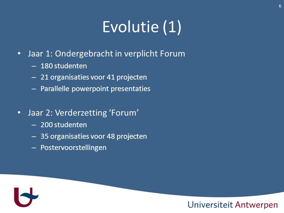 Evolutie (1) Jaar 1: Ondergebracht in verplicht Forum – 180 studenten – 21 organisaties voor 41 projecten – Parallelle powerpoint presentaties Jaar 2: