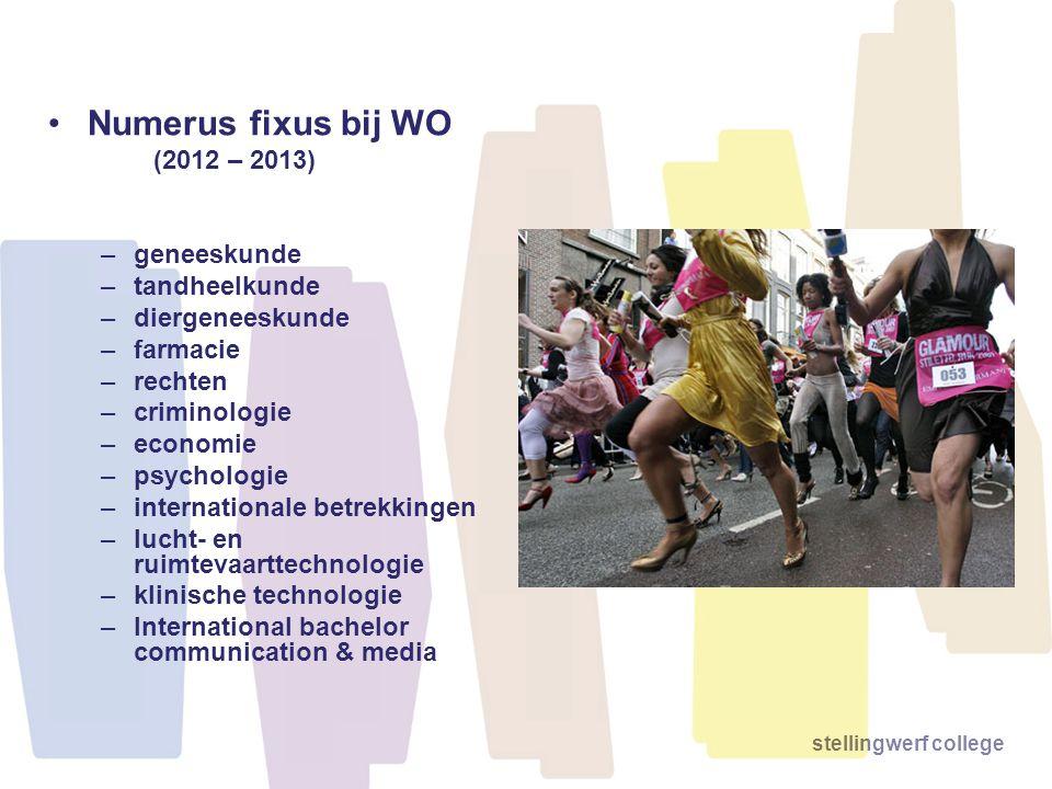 stellingwerf college Numerus fixus bij WO (2012 – 2013) –geneeskunde –tandheelkunde –diergeneeskunde –farmacie –rechten –criminologie –economie –psych