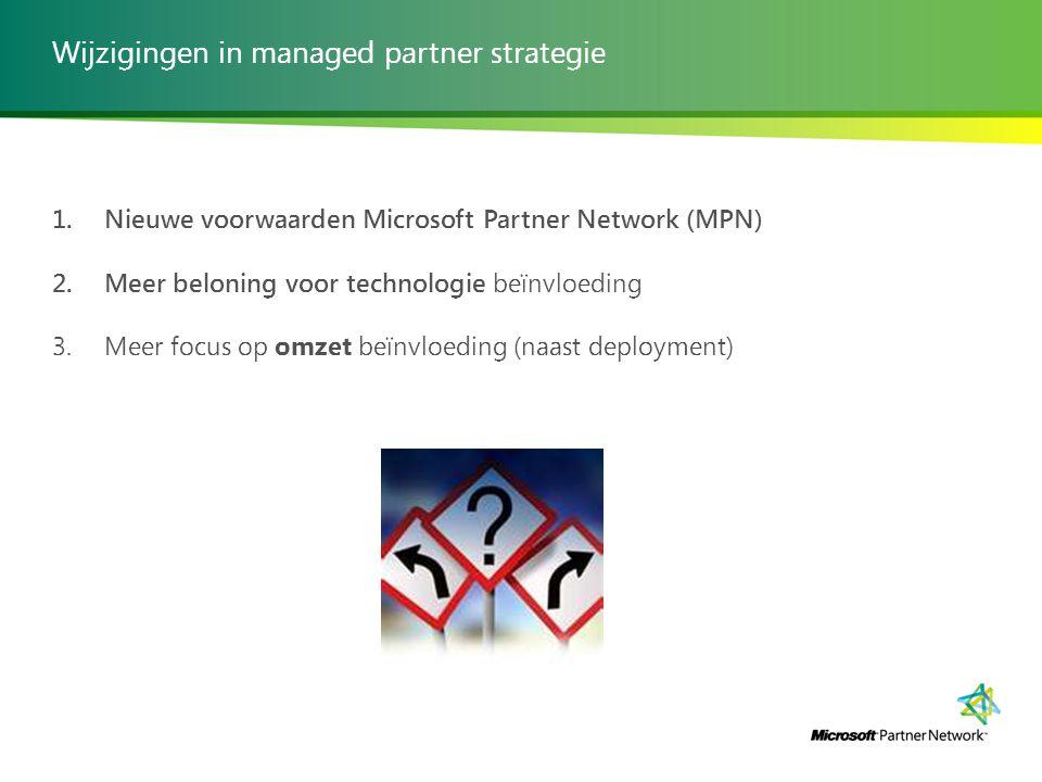 Wijzigingen in managed partner strategie 1. Nieuwe voorwaarden Microsoft Partner Network (MPN) 2. Meer beloning voor technologie beïnvloeding 3. Meer