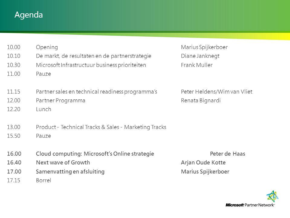 Agenda 10.00 OpeningMarius Spijkerboer 10.10De markt, de resultaten en de partnerstrategieDiane Janknegt 10.30Microsoft Infrastructuur business priori