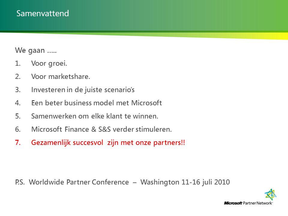 Samenvattend We gaan ….. 1. Voor groei. 2. Voor marketshare. 3. Investeren in de juiste scenario's 4. Een beter business model met Microsoft 5. Samenw