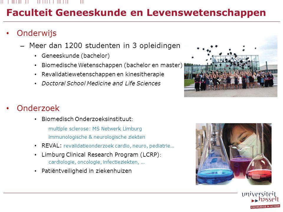 Faculteit Geneeskunde en Levenswetenschappen Onderwijs – Meer dan 1200 studenten in 3 opleidingen Geneeskunde (bachelor) Biomedische Wetenschappen (ba