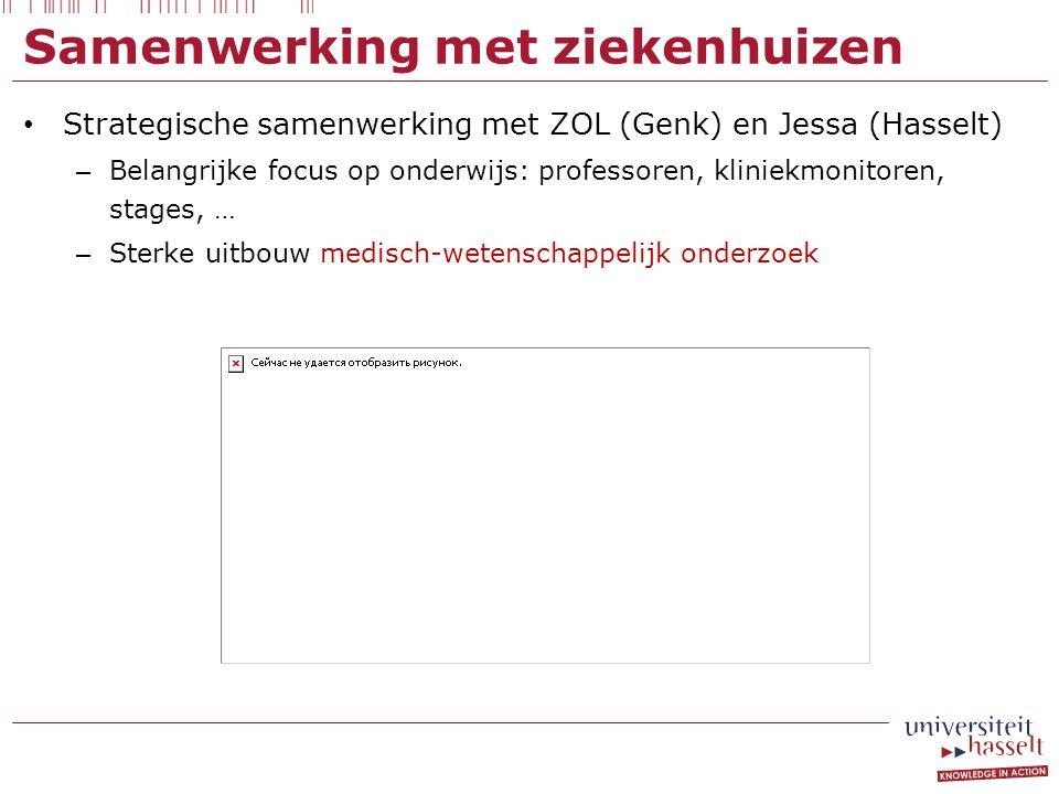 Samenwerking met ziekenhuizen Strategische samenwerking met ZOL (Genk) en Jessa (Hasselt) – Belangrijke focus op onderwijs: professoren, kliniekmonito