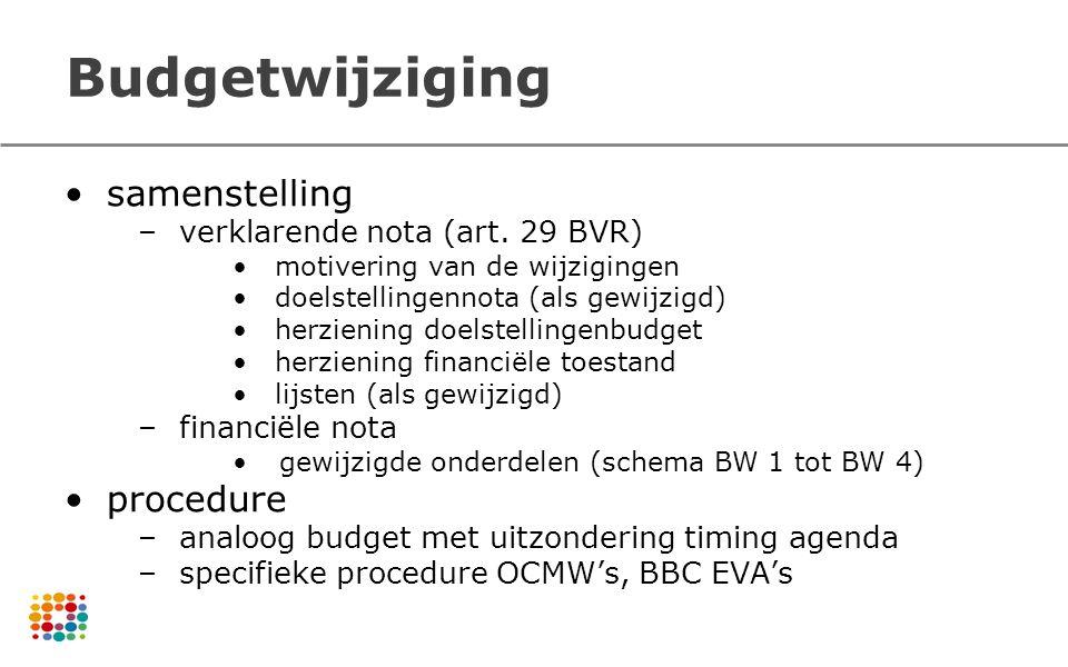 Budgetwijziging samenstelling –verklarende nota (art. 29 BVR) motivering van de wijzigingen doelstellingennota (als gewijzigd) herziening doelstelling