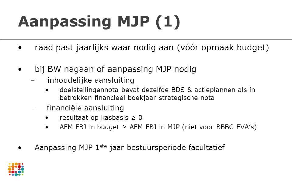 Aanpassing MJP (1) raad past jaarlijks waar nodig aan (vóór opmaak budget) bij BW nagaan of aanpassing MJP nodig –inhoudelijke aansluiting doelstellin