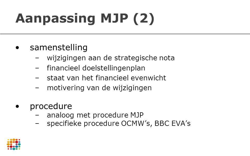Aanpassing MJP (2) samenstelling –wijzigingen aan de strategische nota –financieel doelstellingenplan –staat van het financieel evenwicht –motivering