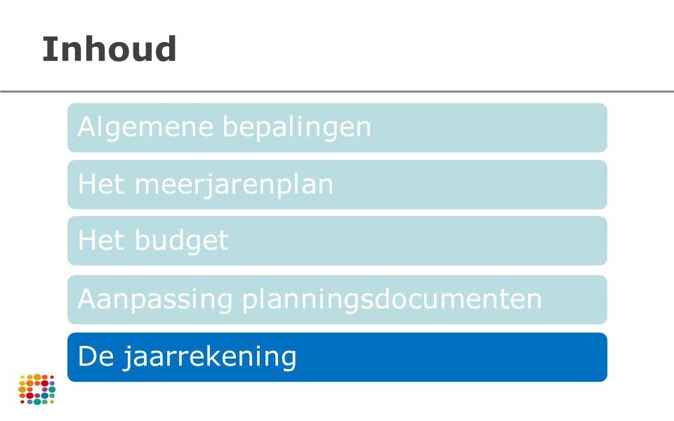 Inhoud Algemene bepalingenHet meerjarenplanHet budgetAanpassing planningsdocumentenDe jaarrekening