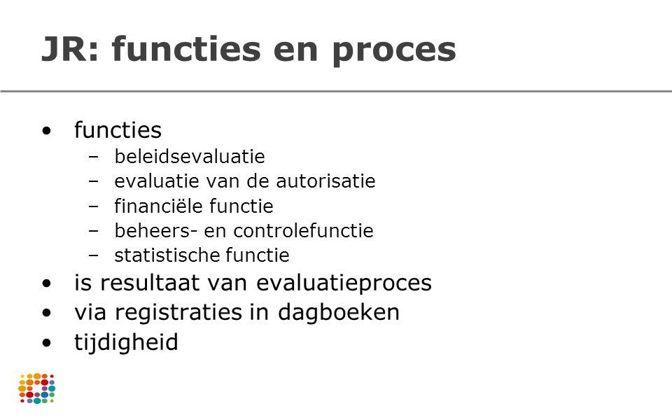 JR: functies en proces functies –beleidsevaluatie –evaluatie van de autorisatie –financiële functie –beheers- en controlefunctie –statistische functie