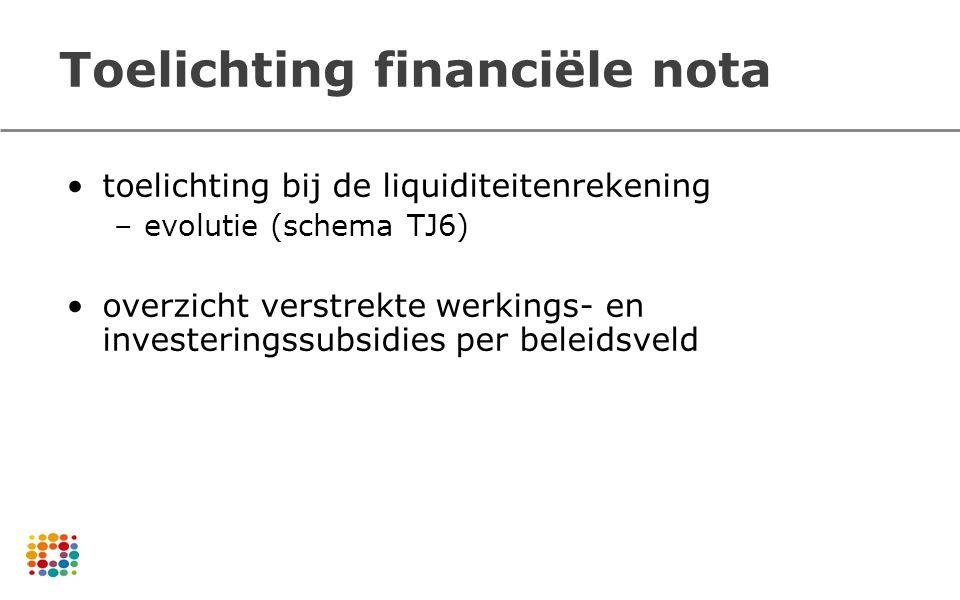 Toelichting financiële nota toelichting bij de liquiditeitenrekening –evolutie (schema TJ6) overzicht verstrekte werkings- en investeringssubsidies pe