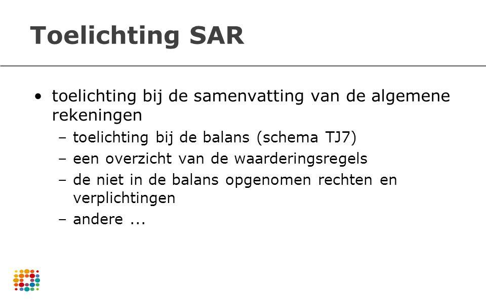Toelichting SAR toelichting bij de samenvatting van de algemene rekeningen –toelichting bij de balans (schema TJ7) –een overzicht van de waarderingsre