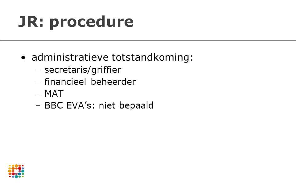 JR: procedure administratieve totstandkoming: –secretaris/griffier –financieel beheerder –MAT –BBC EVA's: niet bepaald